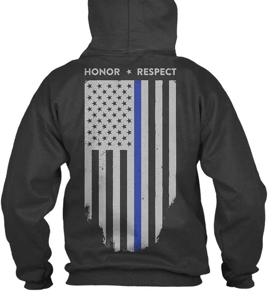 Thin Blue Line USA Flag law enforcement police hooded sweat shirt hoodie Gildan