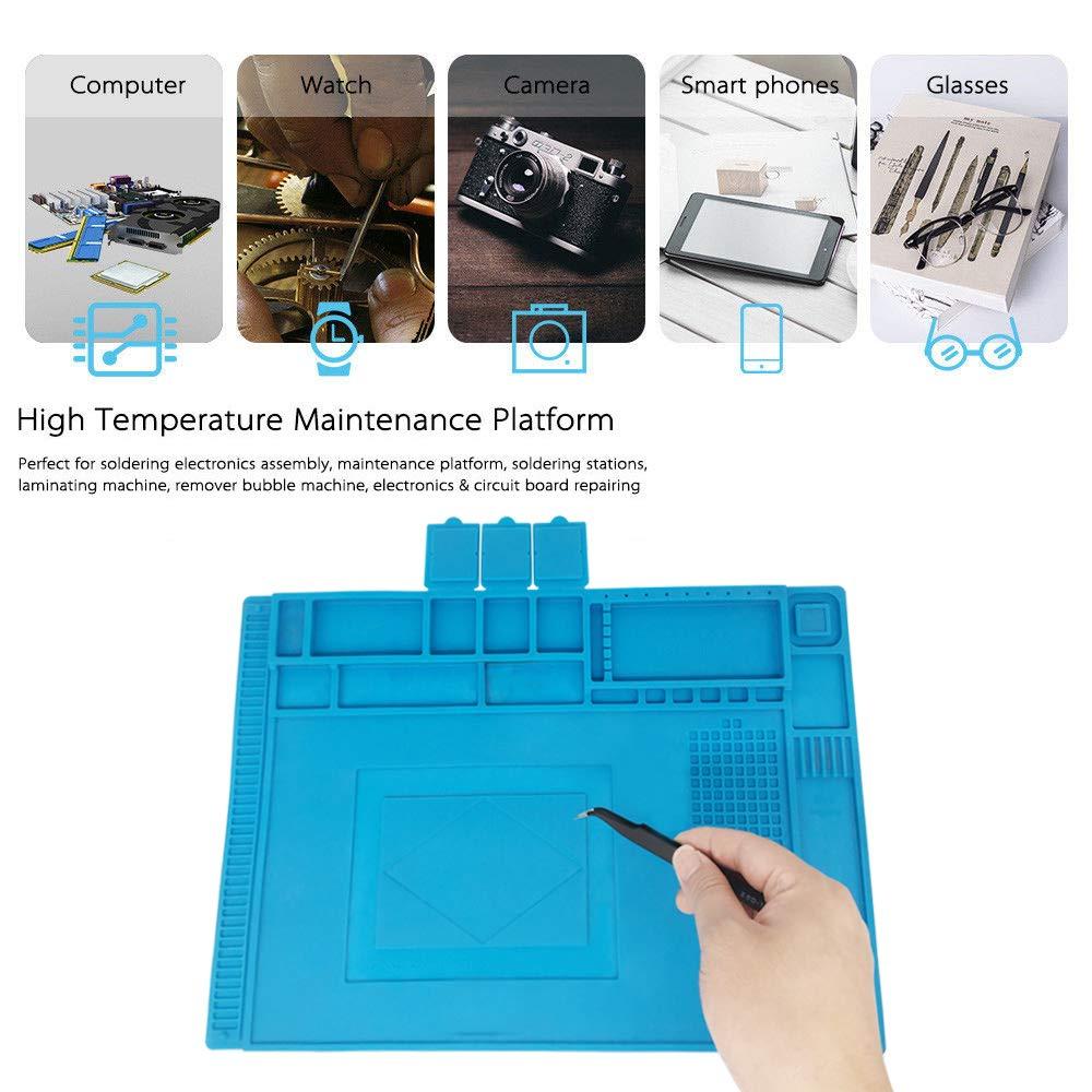 Silicone Mat 500 /°C Heat Resistant Magnetic Work Mat Workmat Repair Mat Soldering Mat Antistatic for Soldering Guns Hot Guns 45 x 30 cm