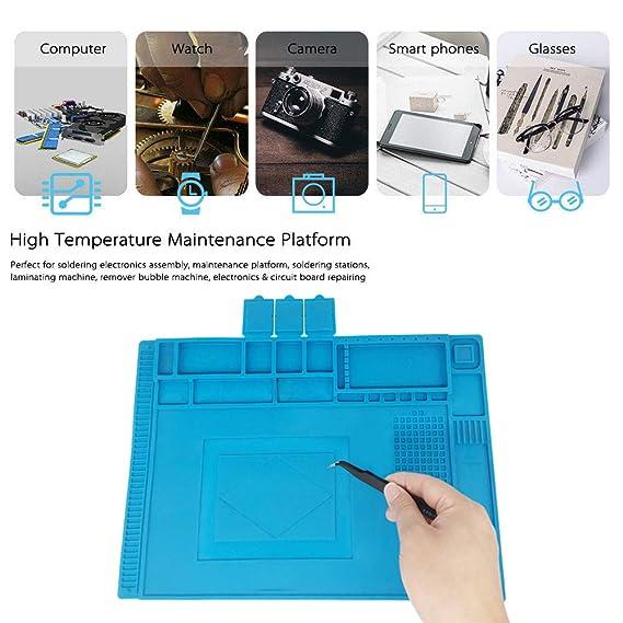 Almohadilla de trabajo Soldadura Estera Magnética del Silicón, 45x 30cm Aislamiento resistente al alta temperatura -50-500 ° estera para reparar teléfono, ...