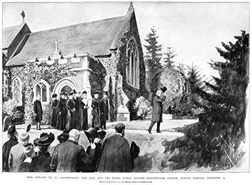 Edward Vii (1840-1910) Nking Of England 1901-1910 Edward Vii And The Royal Family Leaving Saint Mary Magdalene Church In Sandringham Norfolk England 14 November 1901 Contemporary English Illustration