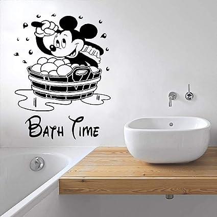Yuanminglu Cartoon Maus Bad Zeit Dusche Cartoon Wandaufkleber Vinyl Aufkleber Wasserdicht Und Wasserdicht Badezimmer Dekoration 74x93cm Amazon De Kuche Haushalt