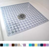 Gorilla Grip Original Patented Shower Stall Mat, Bath Tub Mats, 21x21, Machine Washable, Antibacterial, BPA, Latex, Phthalate Free, Square Bathroom Mats with Drain Holes, Suction Cups, Clear