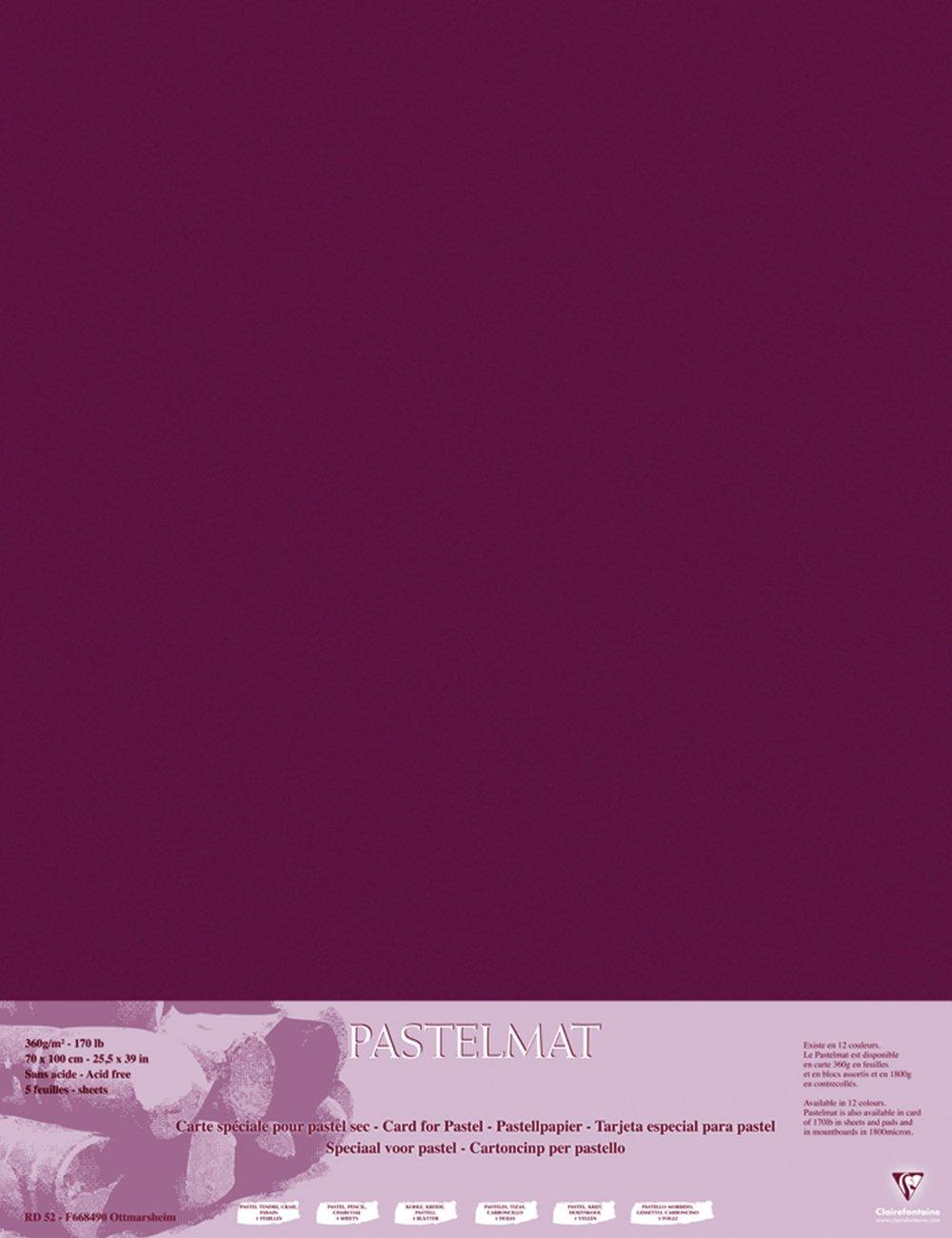 Clairefontaine 96163C Confezione Pastelmat, 70 x 100 cm, 5 Fogli, Vino