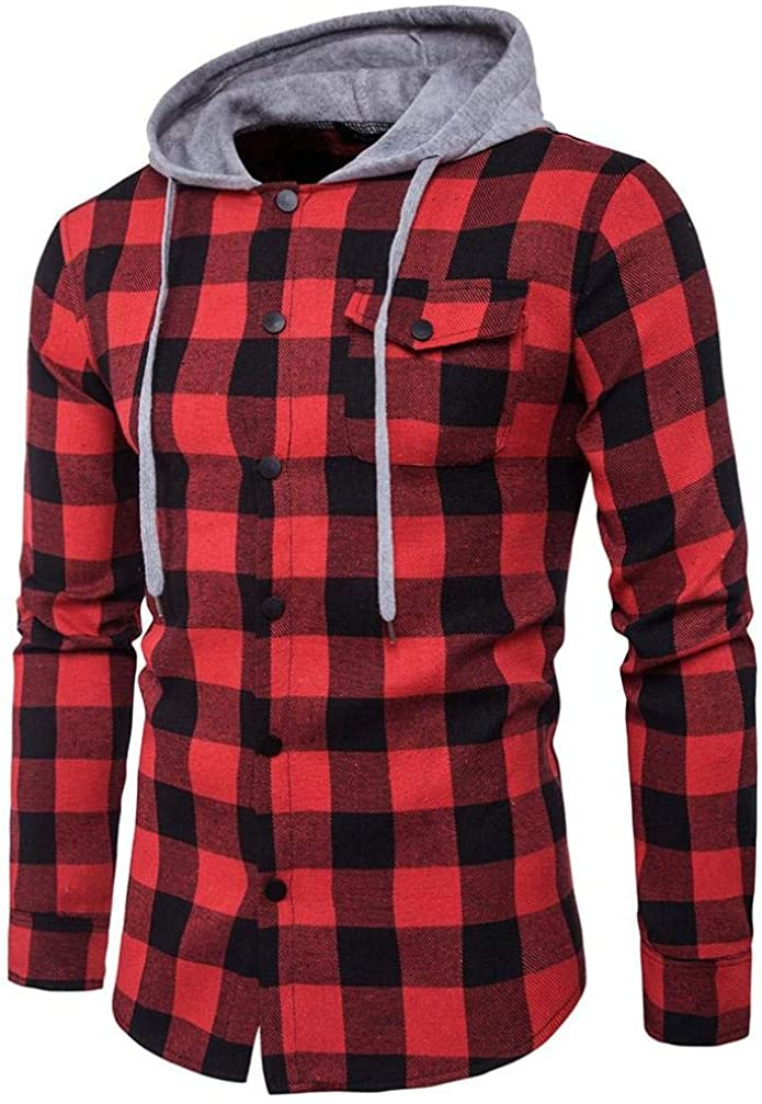 Ninasill Mens Casual Plaid Shirts Long Sleeve Pullover Shirts Hooded