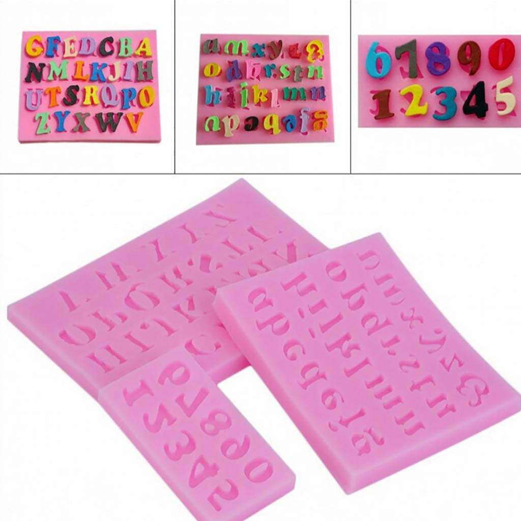 Eugenelo Cake Silicone Fondant Mold, Alphabet and Number High Definition Quality Cupcake Topper Chocolate Decoration Birthday Party Tool for Sugarcraft, Soap, Candle, Crafting