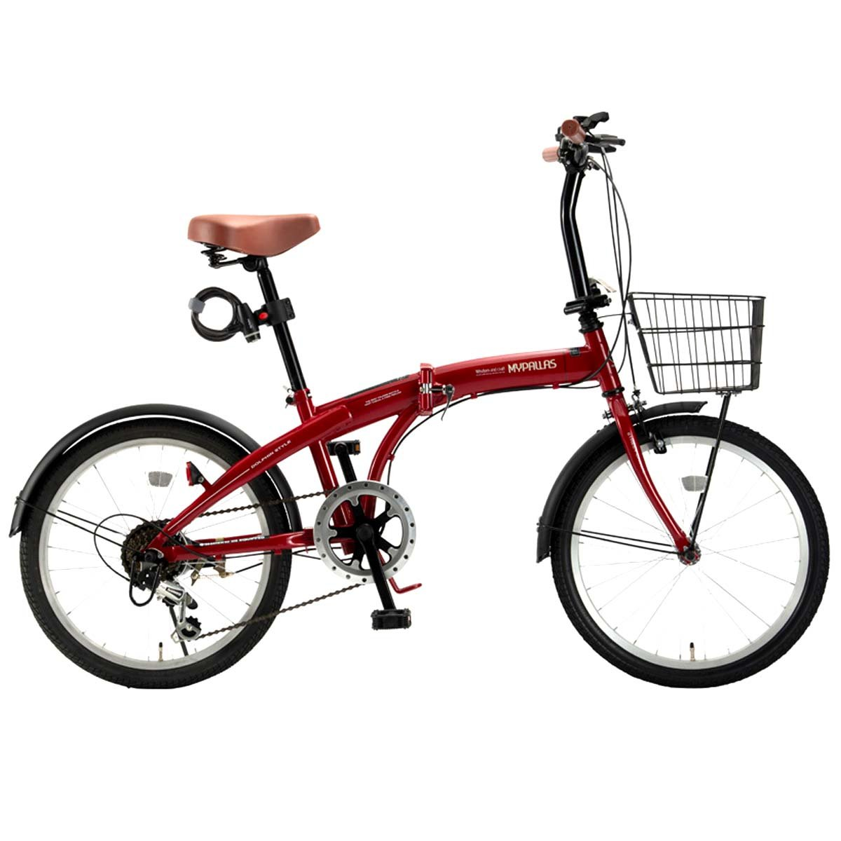 My Pallas(マイパラス) 折畳自転車20インチシマノ6段ギアバスケットライトカギ付 オールインワン HCS-01 B07DV92XY8 レッド レッド