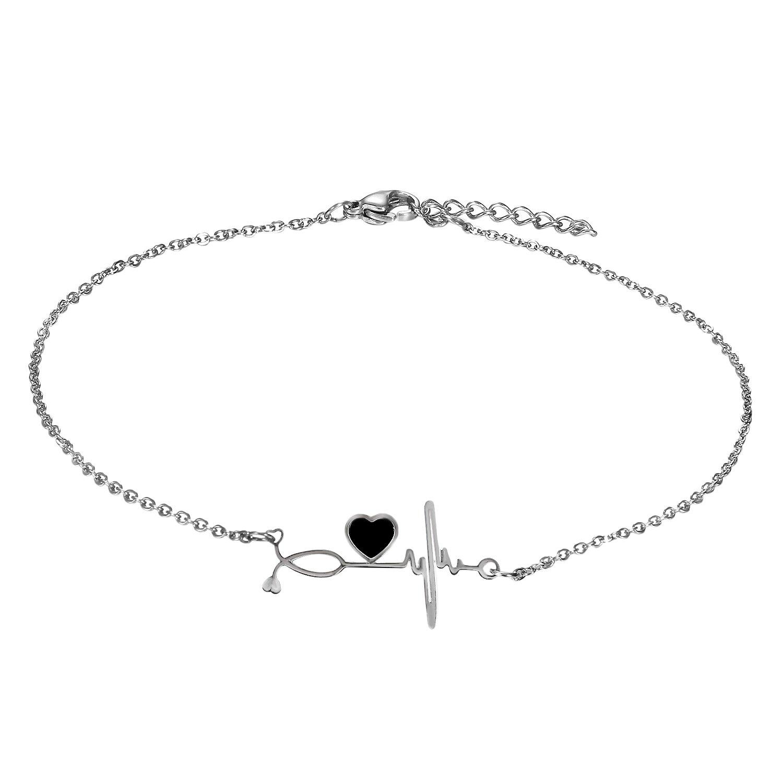Cupimatch Nurse ECG Bracelet Heartbeat Cardiogram Love Heart Link Charm Chain Adjustable Anklet 10.5' CU-MI-121-US