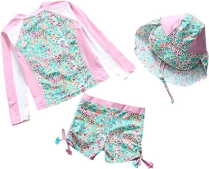 Sunsuit TiaoBug Toddler Baby Girls Swimwear Sets Two-Piece Tankini Swimsuit Long Sleeve Zipper Rashguard Suit UPF 50
