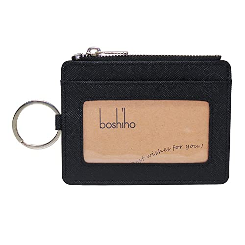Boshiho Saffiano Leather Credit Card Holder Coin Change Purse with Key Ring  Keychain (Black) 154020a53b38