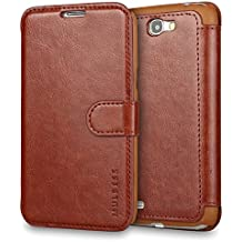 Galaxy Note 2 Case Wallet,Mulbess [Layered Dandy][Vintage Series][Coffee Brown] - [Ultra Slim][Wallet Case] - Leather Flip Cover With Credit Card Slot for Samsung Galaxy Note 2 N7100
