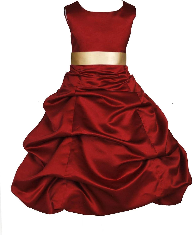 ekidsbridal Wedding Pageant Apple Red Christmas Satin Flower Girl Dress 806s