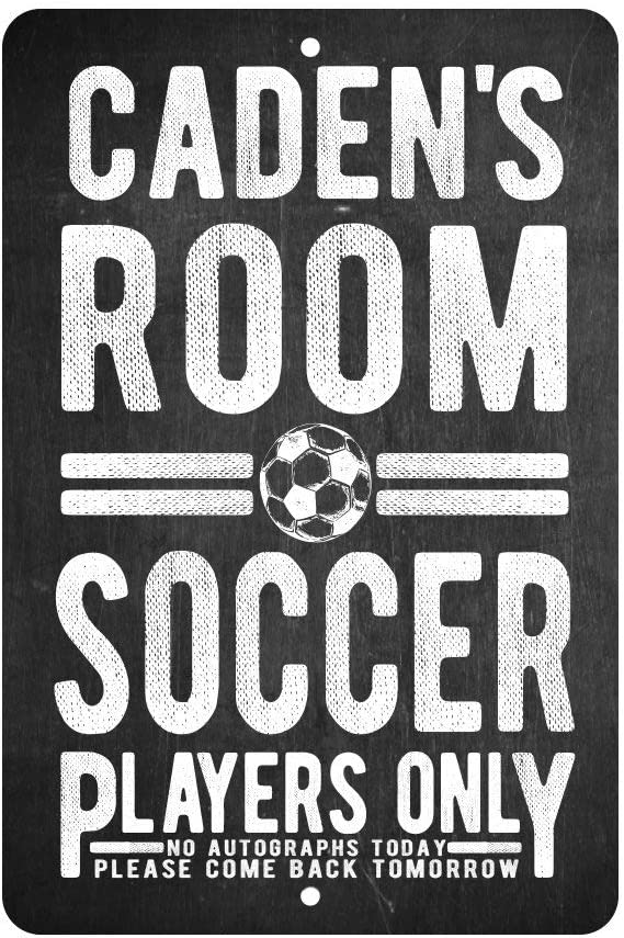 Personalized Soccer Players Only - No Autographs Metal Room Sign - Aluminum Soccer Wall Decor