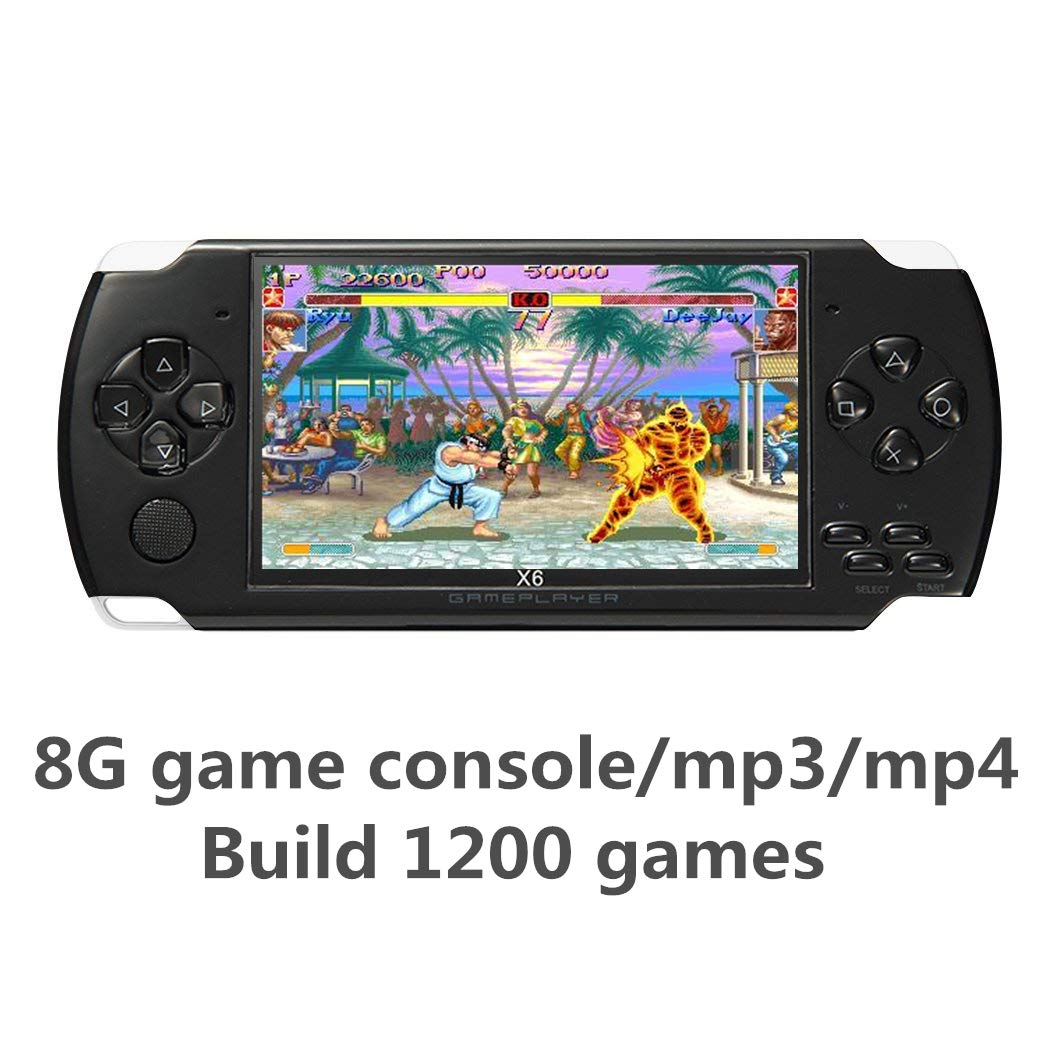 JXD 4.3 inch 8GB Handheld Portable Game Console Built in 1200+Real Video Games for gba/gbc/SFC/fc/SMD Games mp3/mp4/mp5/DV/DC Function (Black) by JXD (Image #2)