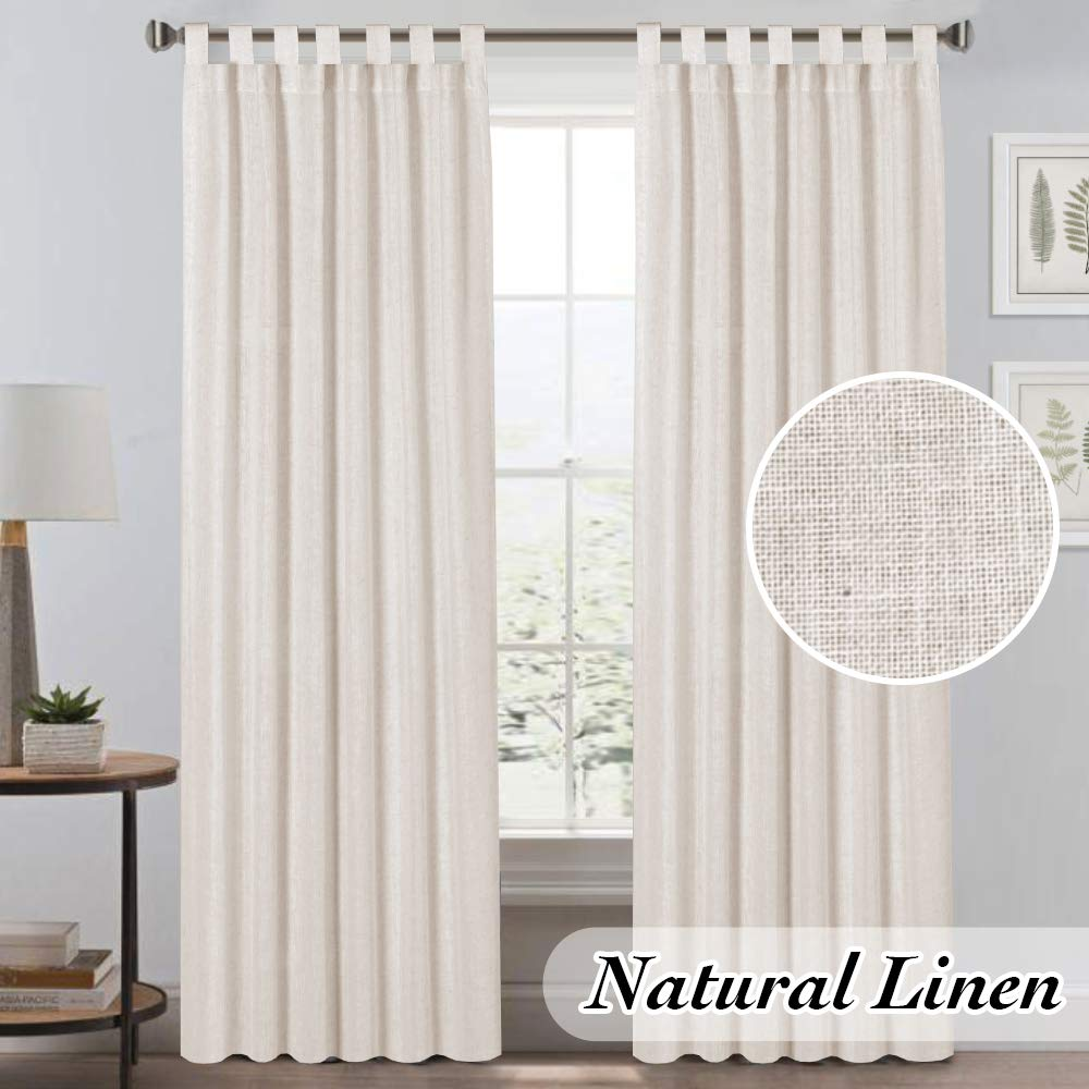 Natural Linen Curtains for Living Room Linen Textured Home Decorative Privacy Window Treatment Panels/Draperies Light Filtering and Tab Top (Set of 2, Natural, 52x96 - Inch) by PrinceDeco