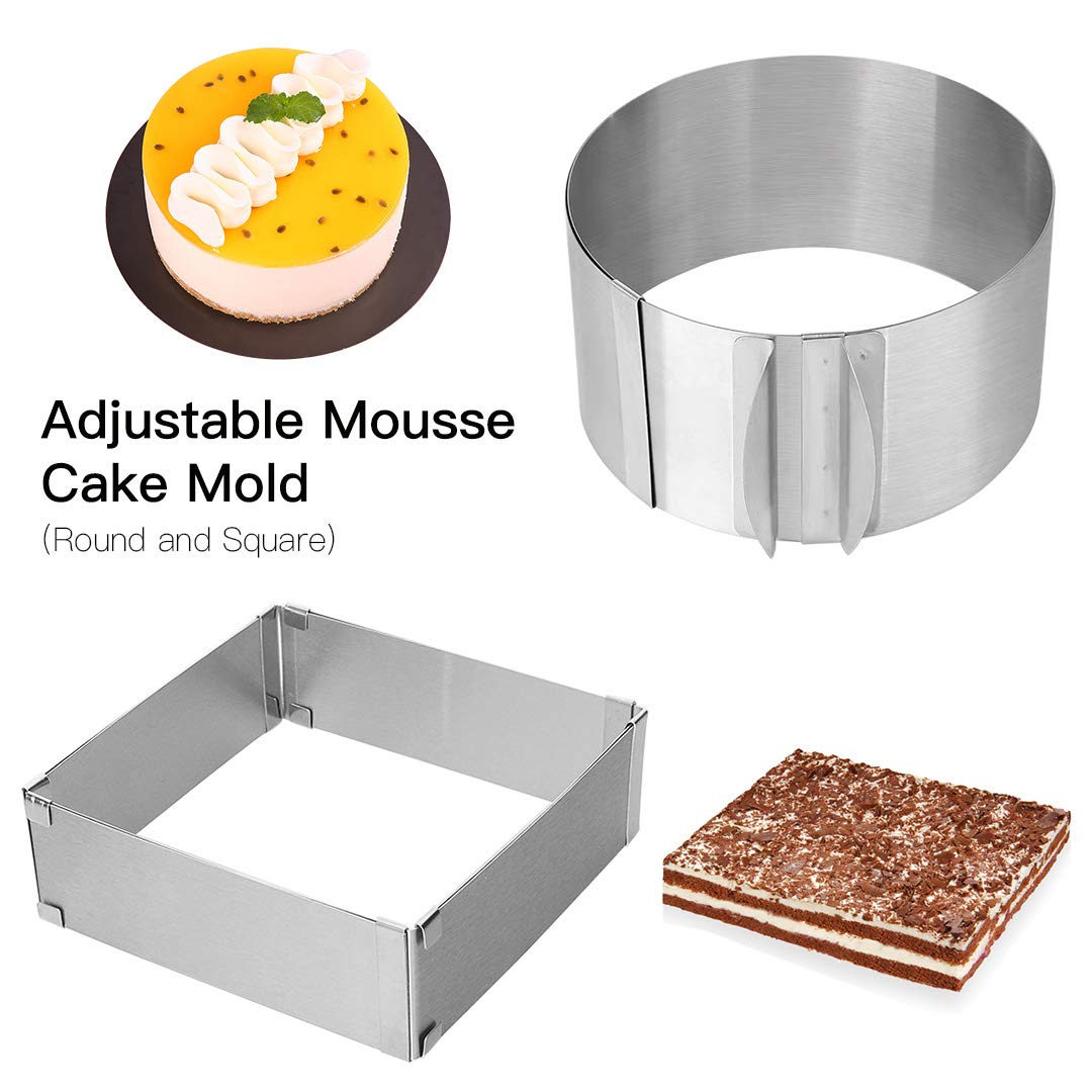 Adjustable Cake Mold Ring 2-piece Set, 6-12 Inch Cake Mousse Ring Stainless Steel (Round+Square)