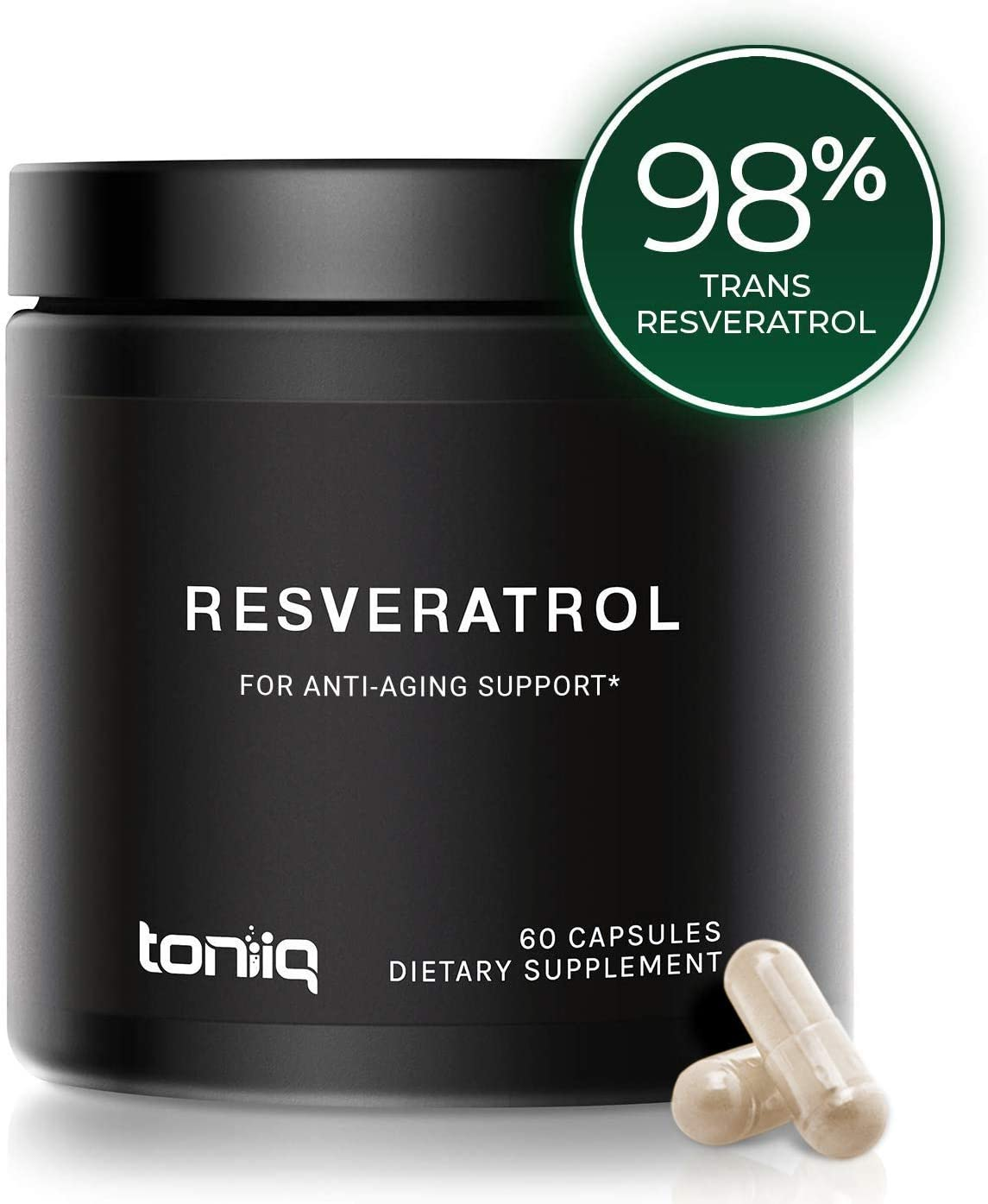 Ultra High Purity Resveratrol Capsules - 98% Trans-Resveratrol - Support for Anti Aging - 60 Caps Reservatrol Supplement