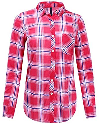 Ladies' Code Knit Plaid Checkered Button Down Shirt Roll up Sleeves Red Royal S Size