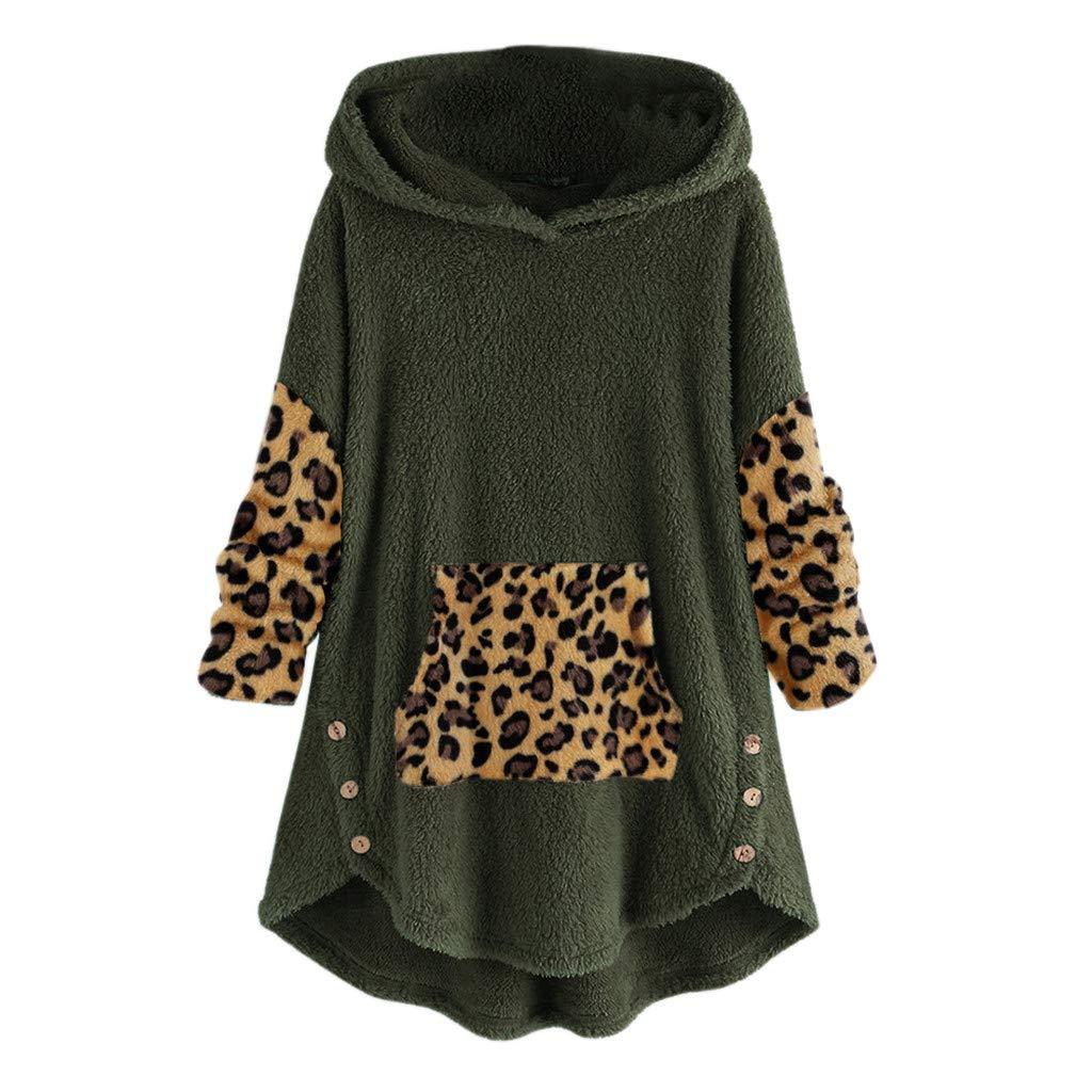 Fammison Women Hoodie Pullover Women Fleece Leopard Patchwork Button Hem Plus Size Hoodie Top Sweater Blouse Green by Fammison