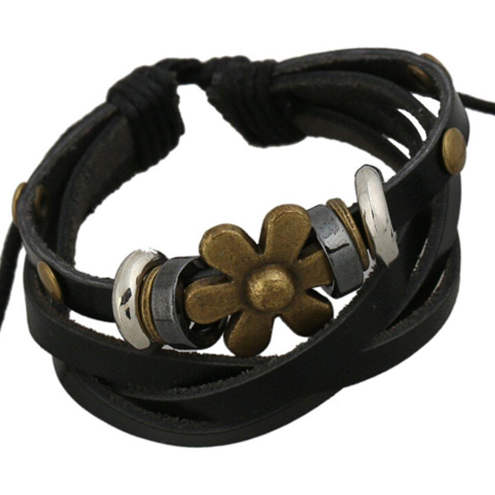 TEMEGO Jewelry Mens Womens Alloy Genuine Leather Surfer Wrap Bracelet, Vintage Engraved Flower Charm Cuff Bracelet, Adjustable Fits 7-12 Inch, Black Silver