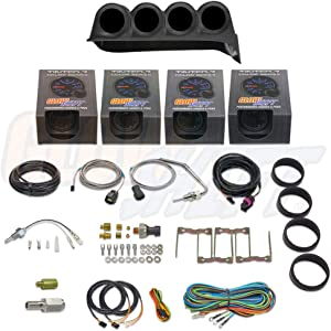 GlowShift Diesel Gauge Package for 1986-1993 Dodge Ram Cummins First 1st Gen - Tinted 7 Color 60 PSI Boost, 1500 F Pyrometer EGT, 30 PSI Fuel Pressure & Transmission Temp Gauges - Black Quad Dash Pod