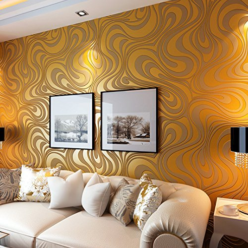 3d Wallpaper Home Decor Wall Treatments Non Woven Curved Lines Wall Paper For Livingroom Bedroom Kitchen Gold Buy Online In Cayman Islands At Cayman Desertcart Com Productid 44377722
