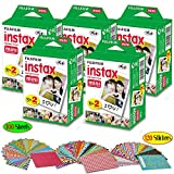 FujiFilm Instax Mini Instant Film 5 Pack (5 x 20) Total of 100 Sheets + 120 Assorted Colorful Mini Photo Stickers - Compatible with FujiFilm Instax Mini 9, Mini 8, Mini 25, Mini 90, Fuji SP-1, SP-2