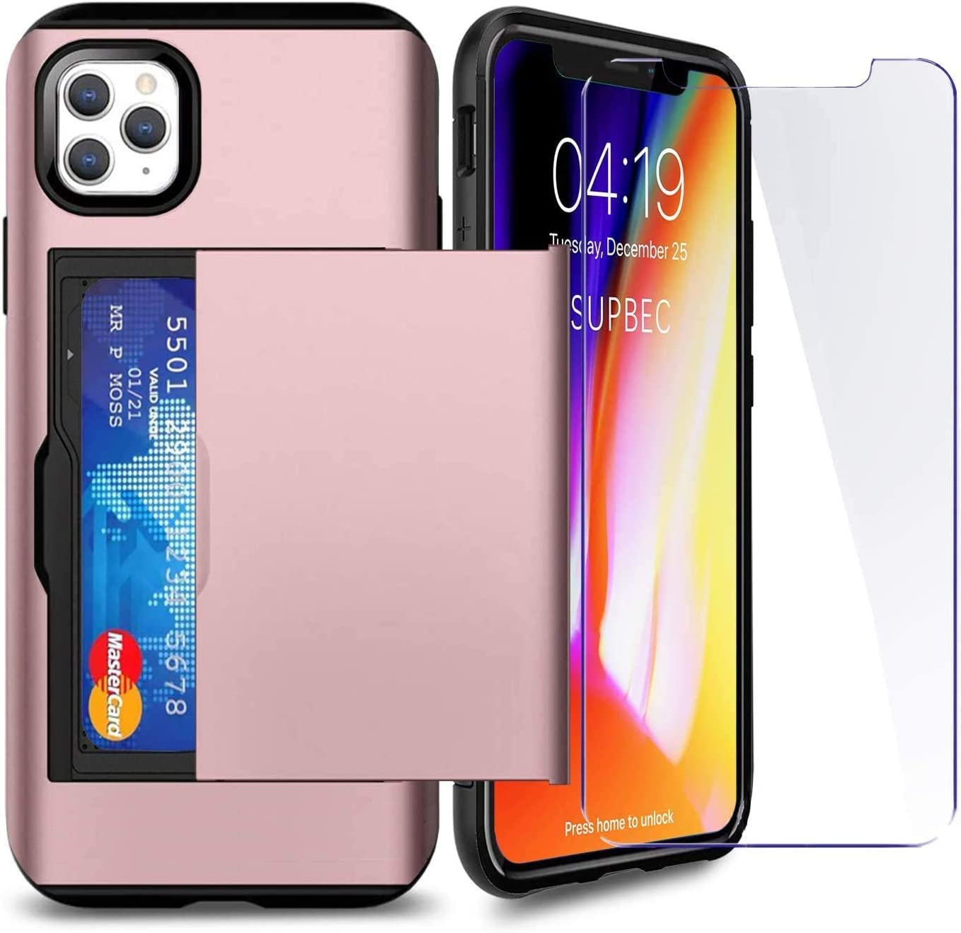 SUPBEC Compatible for iPhone 11 Pro Max Case with Card Holder and[ Screen Protector Tempered Glass x2Pcs][ Protective Series] Shockproof Silicone for iPhone 11 ProMax Wallet Case Cover-Rose Gold-6.5