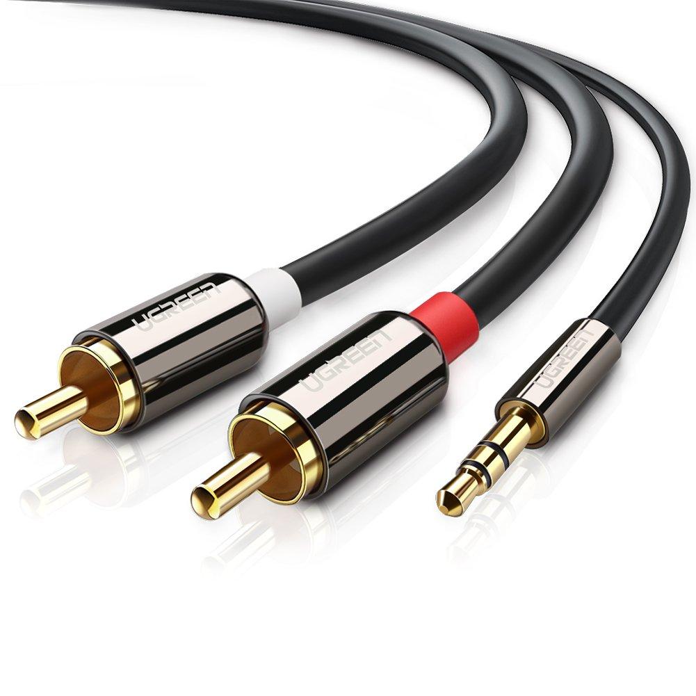ugreen cinch kabel 2m stereo klinke auf 2 y splitter chinch audiokabel ebay. Black Bedroom Furniture Sets. Home Design Ideas