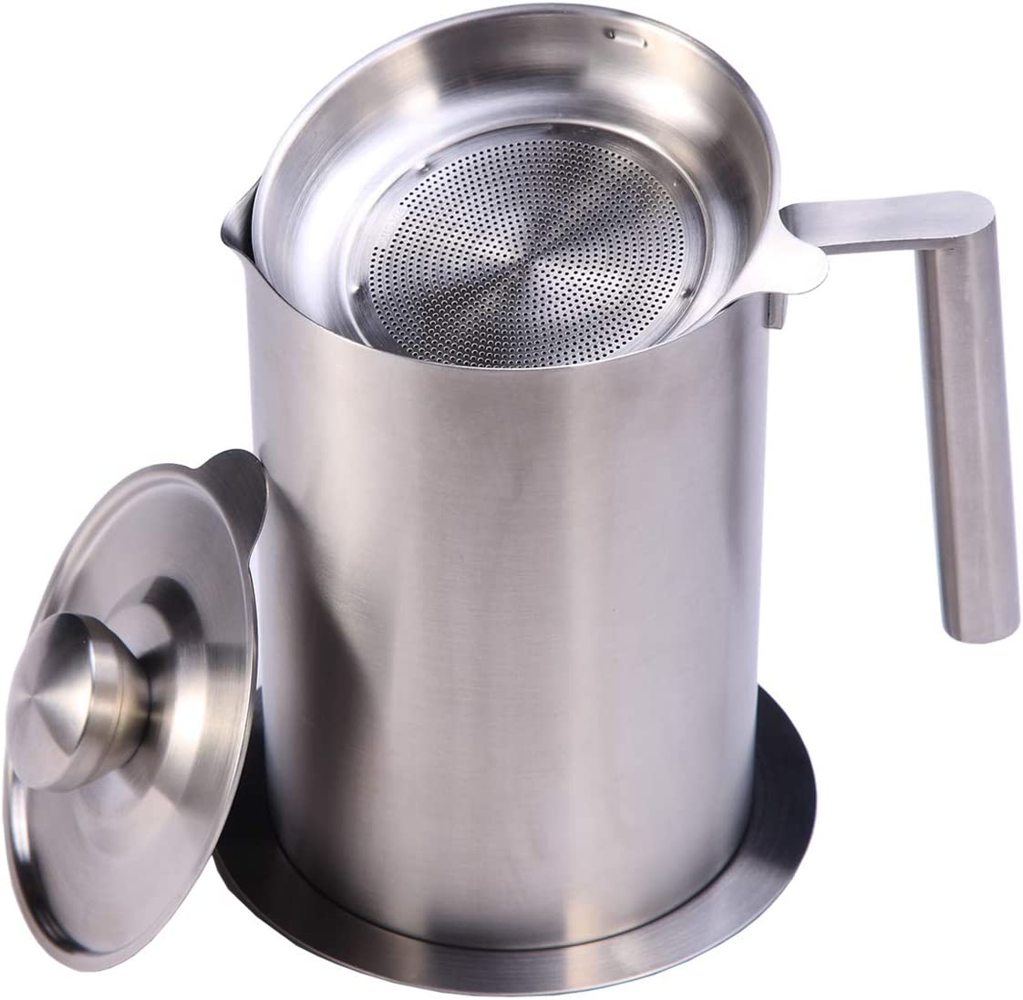 Sumerflos All 304 Stainless Steel Grease Strainer and Container - 1.8 L/1.9 Quart Large Oil Storage Pot Grease Keeper with Dust-Proof Lid & Easy Grip Handle - for Bacon, Kitchen Cooking or Frying Oil