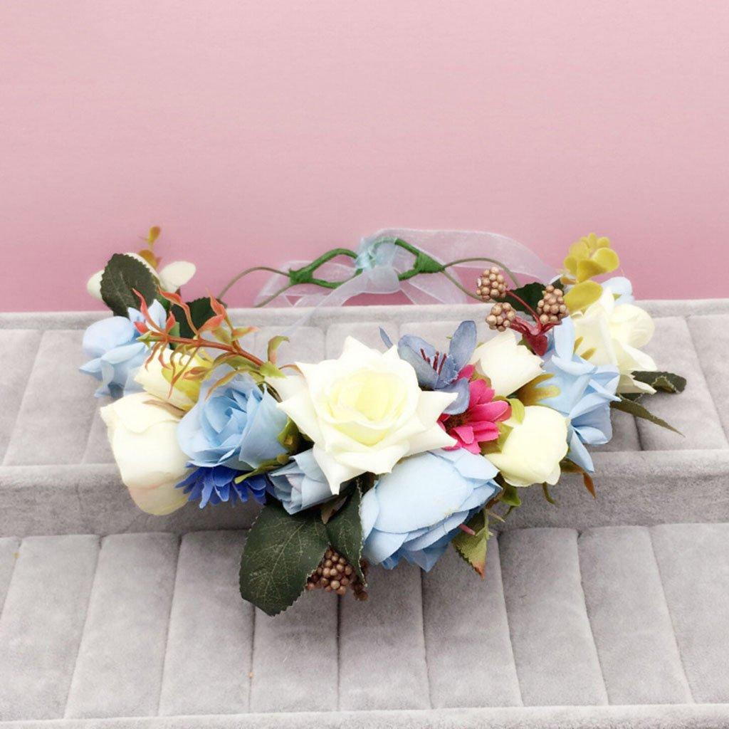 Wreath Flower, Headband Flower Garland Handmade Wedding Bride Party Ribbon Headband Wristband Hairband (Color : E)
