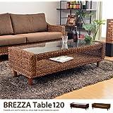 ブラウン/アジアン家具 アバカ テーブル センターテーブル ガラステーブル ガラス アジアン 和 ラタン 収納 Brezza 120テーブル リゾート エスニック 幅120