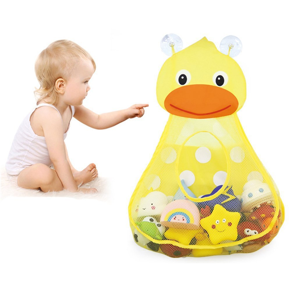 Baby Bath Toy Organizer Cute Animal Shape,Bathroom Toy Storage Net Bag with 2 Strong Suction Cups,Keep Kids Bathtub Toys Dry and Neat zwb-055