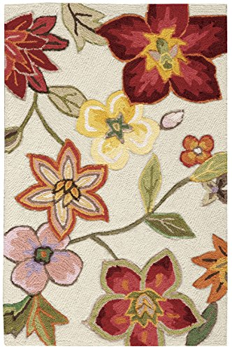 Rug Squared Laurel Floral Area Rug (LA18), 1-Foot 9-Inches by 2-Feet 9-Inches, Ivory