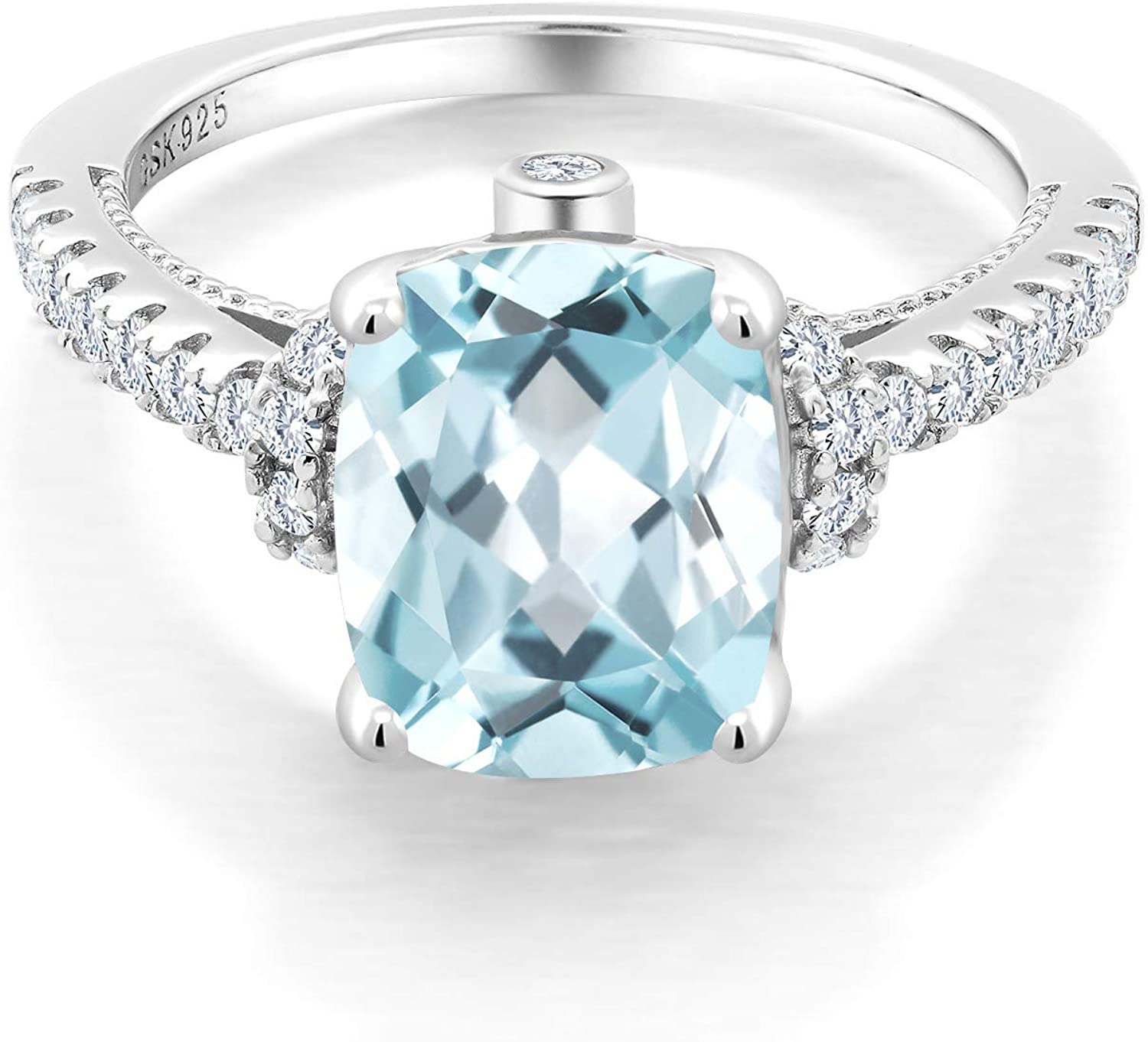 probably aquamarine Sterling silver ring with light blue stone