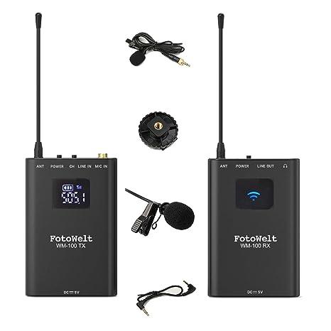 fotowelt WM-100-4 Channels UHF Lavalier micrófono Inalámbrico con ...
