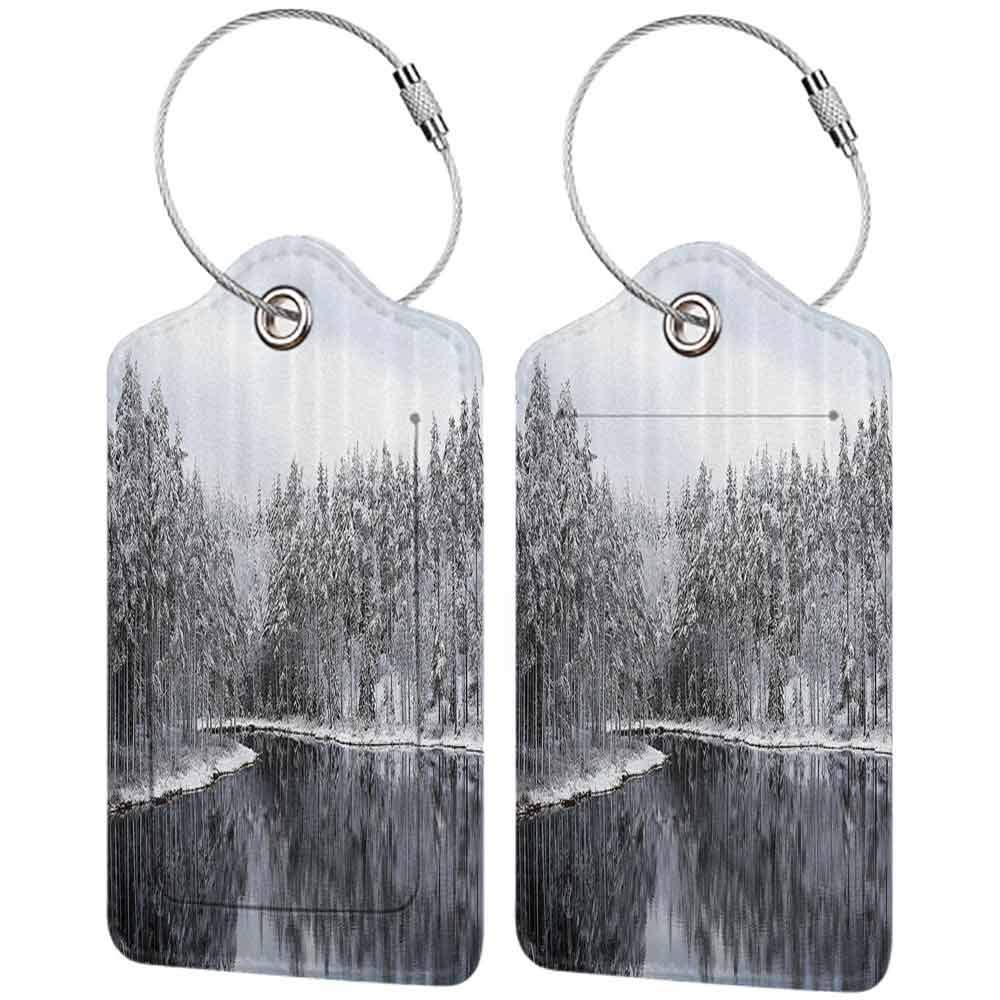 Waterproof luggage tag Snowy Trees Woodland Lake Surrounded by Snow Covered Trees on a Cold Winter Day in Finland Image Soft to the touch Fabric W2.7 x L4.6