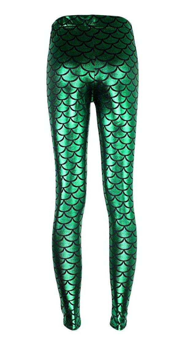 Alaroo Shiny Fish Scale Mermaid Leggings for Women Pants Green Plus 4XL by Alaroo (Image #4)
