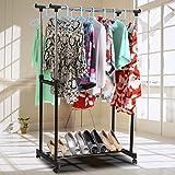 Dozenla Heavy Duty Clothing Garment Rack - Chrome,2 Rolling Rail Adjustable Hanging Garment Hangers, Heavy Duty Rack Stainless Steel Pole Floor Type Racks(US Stock)