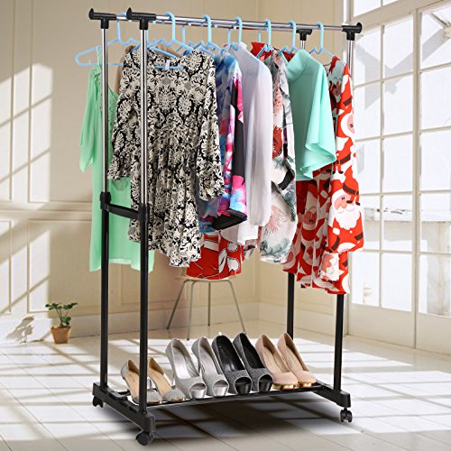 Homdox Foldable Clothes Drying Rack Double Pole Rail Rod Adj