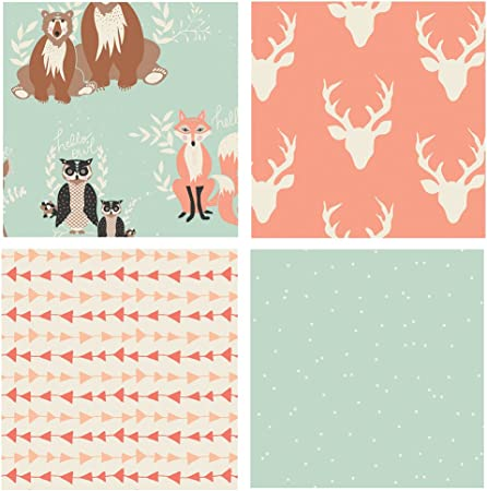 Designer Fabric Pink Red Grey Teal Fabric Apparel Fabric Buck Forest Fabric Designer Quilting Cotton Bundle of 4 Hello Bear New Colors