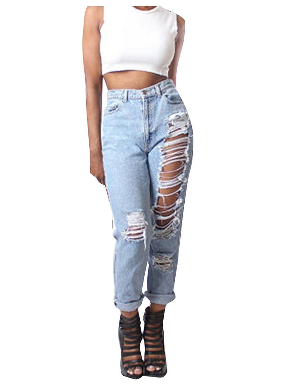 425c21aeaa525 Lyamazing Women Boyfriend Ripped Leg Slim Fit Denim Jeans For High ...