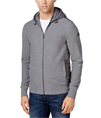 88d728452840a1 Michael Kors Mens Quilted Hoodie Sweatshirt Grey L. Roll over image to zoom  in