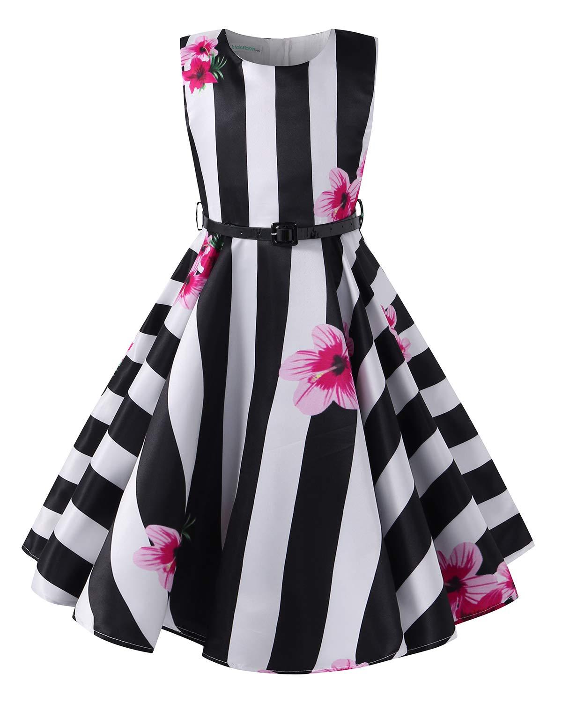 Kidsform Girls Summer Dress Floral 1950 Vintage Party Rockabilly Swing Dresses Casual Sleeveless A-Line Sundress Stripe 11-12Y