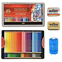 KOH-I-NOOR Artist's Set of Polycolor 72 Coloured Pencils + 2xEraser + Sharpener 4 in1 by Koh-I-Noor