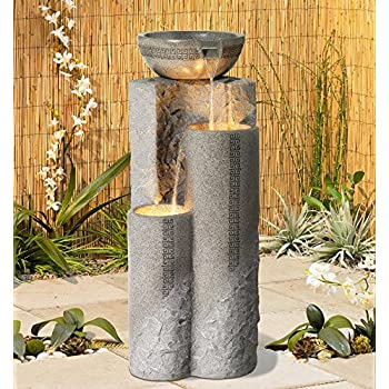 """Faux Marble Bowl & Pillar 34""""H Indoor-Outdoor LED Fountain"""