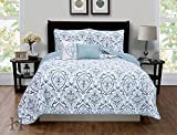 Deena Collection 5-Piece Quilt Set with Shams & Decorative Pillows. Super Soft Microfiber Material Featuring a Unique & Beautiful Printed Design. By Home Fashion Designs. (King, Blue)