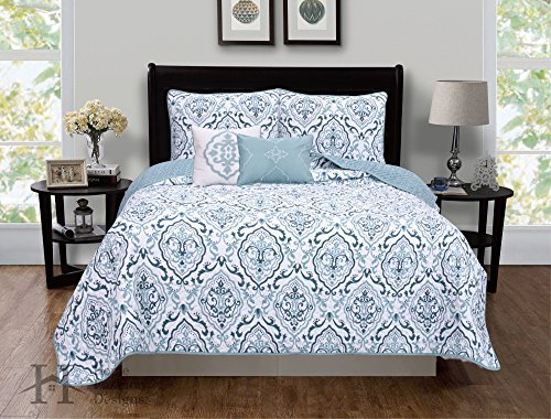 5-Piece Quilt Set with Shams & Decorative Pillows. Super Soft Microfiber Material Featuring a Unique & Beautiful Printed Design. Deena Collection By Home Fashion Designs. (King, Blue) (Quilts Beautiful Bed)