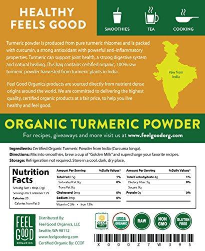 Organic Turmeric Root Powder - 32oz Resealable Bag (2lbs) - 100% Raw w/Curcumin From India - by Feel Good Organics by Feel Good Organics (Image #2)