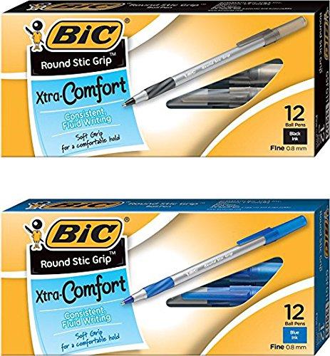 BIC Round Stic Grip Xtra Comfort Ball Pen Fine Point Black & Blue 12/Box GSFG11