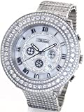 JOJINO 65.00ct Simulated Diamond Watch Mens 'Bust Down' Silver Tone Case Iced Out Metal Band MJ8037